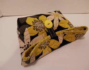Foldover Bag/Black and Gold Bold Flower Print