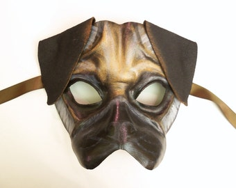 PUG Dog Leather Mask small to medium adult size not super fancy but very cute