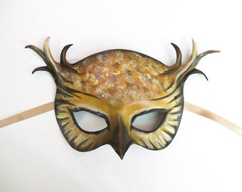 Horned Owl Leather Mask a simpler version of my layered Horned Owl mask wearable art costume Halloween