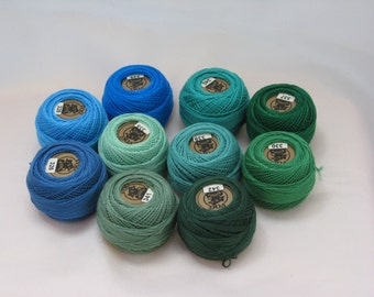 Vog© Perle Cotton Size 8 Embroidery Threads - Set of 10 Balls (10gr Each) - Blue and Green Shades (column No. 5)