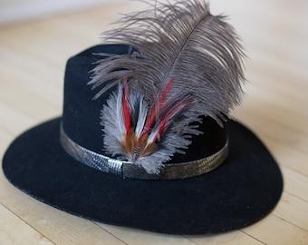 Vintage Black WOOL Lancaster Cowboy Hat WESTERN - Size Medium