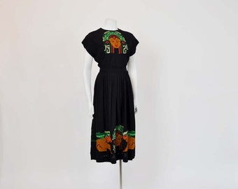 1940s Mayan Goddess / Crepe Blouse Skirt Set / Vintage 40's Cross Stitch / mexican shirt skirt