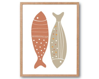 Minimal Print, Nursery art, Nursery Decor, Fish Art Print (Earth), Children room decor, Fish Print, Children's Book Art, Kids Gift