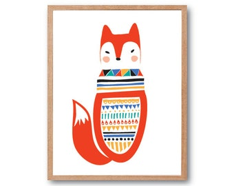 Fox in Folk Costume ArtPrint, Fox art print, Woodland Nursery room Art, Fox Wall Art, Animal Illustration, Children Room  Art, Kids room Art