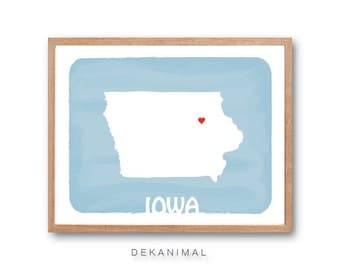 IOWA Map - Baby BLUE - State map, silhouette art, illustration, Personalized Wedding Gift, Custom map, Watercolor, Typography, Drawing