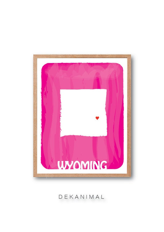 WYOMING MAP - Pink - State map, Personalized Wedding gift, Watercolor Style, Typography, Kids room decor, travel art, Home decor