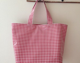 Beth's Big Gingham Oilcloth Market Tote Bag
