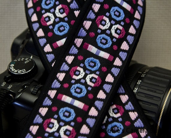 Camera Strap 2 in Wide Custom Padded Vintage Woven Circles Triangles Pink Purple DSLR SLR