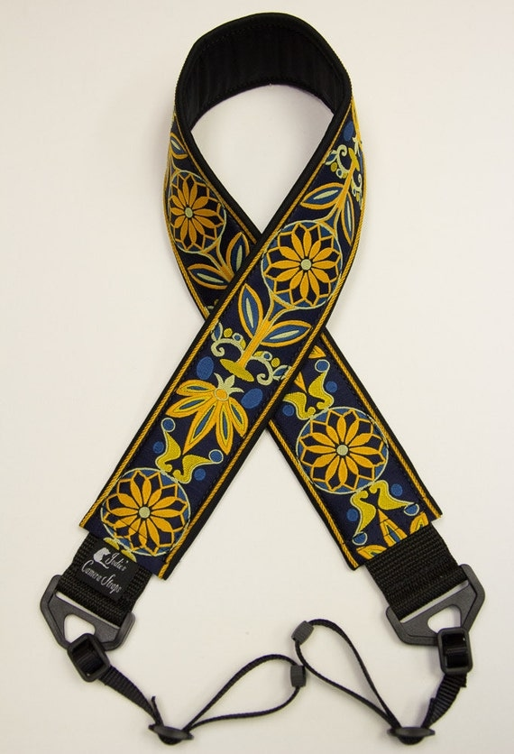 Camera Strap 2 in Wide Custom Padded Pinwheels Navy Gold Blue DSLR SLR