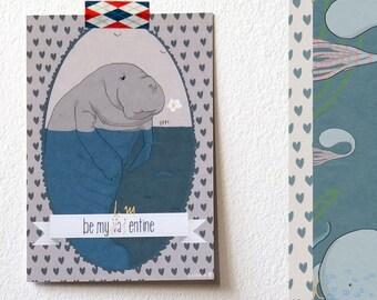 Be my  lame... valentine, manatee illustration postcard