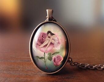Cameo Art Necklace - Rose Flower Fairy