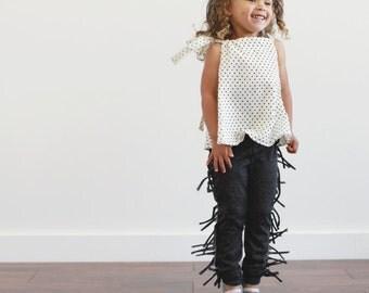 organic Black Fringe leggings