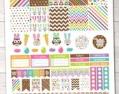 Instant Download Easter Printable Planner Sticker PDF with Full Boxes Icons Weekend Banners