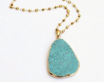 Long Necklace, Turquoise Necklace, Turquoise Pendant Necklace, Stone Necklace, Layering Necklace, Long Pendant Necklace, The Silver Wren