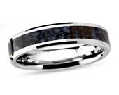 Dinosaur Bone Ring for Him or Her, Tungsten Carbide Wedding Band With Blue Dinosaur Bone, Gothic Ring