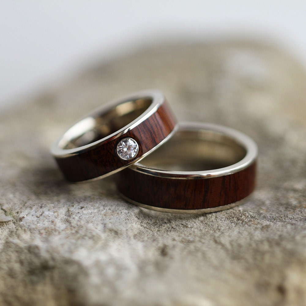 wood ring set in 14k white gold ipe wood wedding bands for