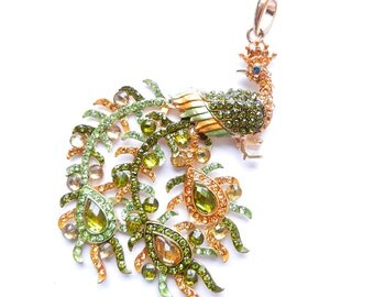 Peacock Pendant Peridot Green and Jonquil Rhinestone Encrusted Gold-tone