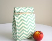 Back to School SALE Sea Green Chevron Organic Lunch Bag - Organic Cotton, Eco Friendly, Fully Insulated - Back to School