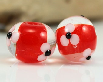 Made to Order - One Pair of Red and White, Lampwork Beads, Handmade Glass Beads, SRA Beads