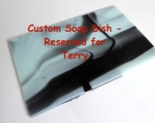 Reserved for Terry - Large Soap Dish in Seafoam Green and Black