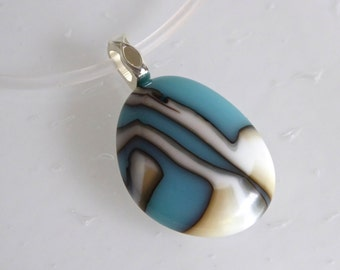 Layered French Vanilla and Turquoise Blue Fused Glass Pendant