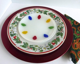 Pair of Glass Holiday Dessert or Salad Plates