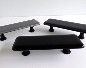 Decorative Fused Glass Cabinet or Drawer Pulls in Black and Grays