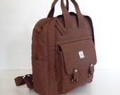 Sale - Chocolate Brown Water Resistant Nylon Backpack - School bag, Diaper bag, Backpack, Travel Bag - MooMoo