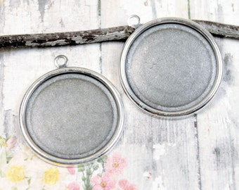 Round Plain Edge Setting Bezel 25mm Brass Trinity Brass Antique Silver {2pc} F851AS