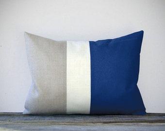 Indigo Blue Color Block Decorative Pillow with Stripes | Cream and Natural Linen by JillianReneDecor Modern Home Decor | Cobalt Blue SS2016