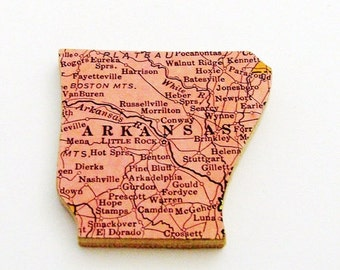 Arkansas Brooch - Pin / Unique Wearable History Gift Idea / Upcycled 1940s Straus Wood Puzzle Map Piece / Timeless Gift Under 25