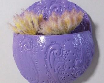 Purple swirls and curls Miniature pocket planter magnet: refrigerator or office magnet decorative pot