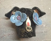 Pit Bull, day of the dead, wall hanging, ceramic head