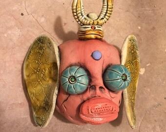 Japanese oni , buddha, wall hanging, ceramic mask