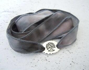 Tree of Life Bracelet, Silk Wrap Bracelet, Yoga Jewelry, Yoga Gift, Gift For Friend, Yoga Accessories, Inspirational Gift, Tree Jewelry