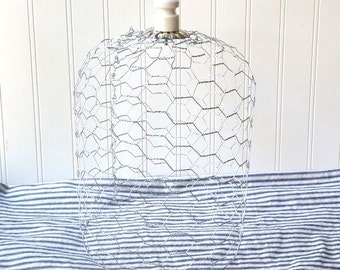 Chicken wire cloche cage with ironstone insulator knob finial Cottage Chic French Country Industrial N2