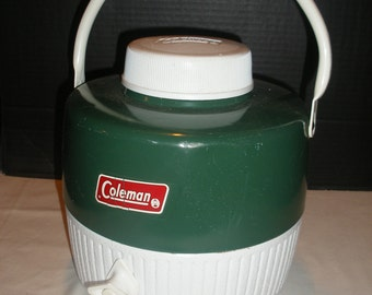 Vintage Coleman 1 Gallon Water Jug Cooler Green & White
