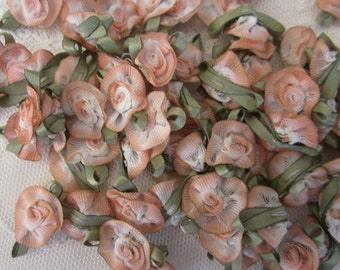 Ombre Fabric Flowers 72 pc SALMON PEACH Shabby Chic Baby Doll Costume Pageant Hair Bow Bridal Wedding Favor