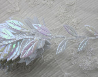 3yds white iridescent leaf trim on a vine great for angel fairy scrapbooking quilts clothing holiday bridal