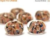 ON SALE 50% OFF Handmade Glass Lampwork Bead Sets - Six Orange Rondelle Beads  - 10704921