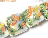 ON SALE 35% OFF New! Four Hawaiian Vacation Pillow Beads 11008614 - Handmade Glass Lampwork Beads