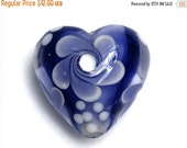 ON SALE 50% OFF Ink Blue w/White Heart Focal Bead - Handmade Glass Lampwork Bead 11811005
