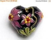 ON SALE 50% OFF New! Handmade Glass Lampwork Bead - 11838305 Kelly's Elegance Heart
