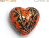 ON SALE 30% OFF Handmade Glass Lampwork Bead 11811705 - Heart Focal Bead - Coral w/Beige