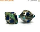 ON SALE 30% OFF Glass Lampwork Bead Sets  - Five Deep Blue Ocean Bicone Beads 10406507
