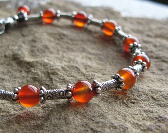 Carnelian Hill Tribes Silver Sterling Silver Bracelet with Rustic Sun Charm