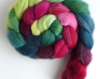 Corriedale Wool Roving - Hand Painted Spinning or Felting Fiber, Coleus