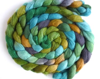 Polwarth/Silk Roving - Handpainted Spinning or Felting Fiber, Moss
