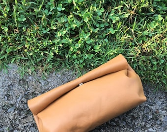 Peanut Butter Leather Roll Top Clutch