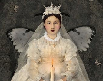 Moth Bride Portrait Print Digital Art Butterfly Wedding White Surreal Home Decor Candle